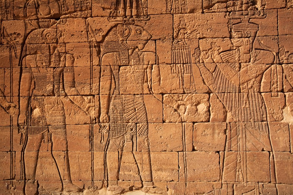 Stock Photo: 4272-31353 Sudan, Nagaa. The hieroglyphics on the Lion Temple at Nagaa.