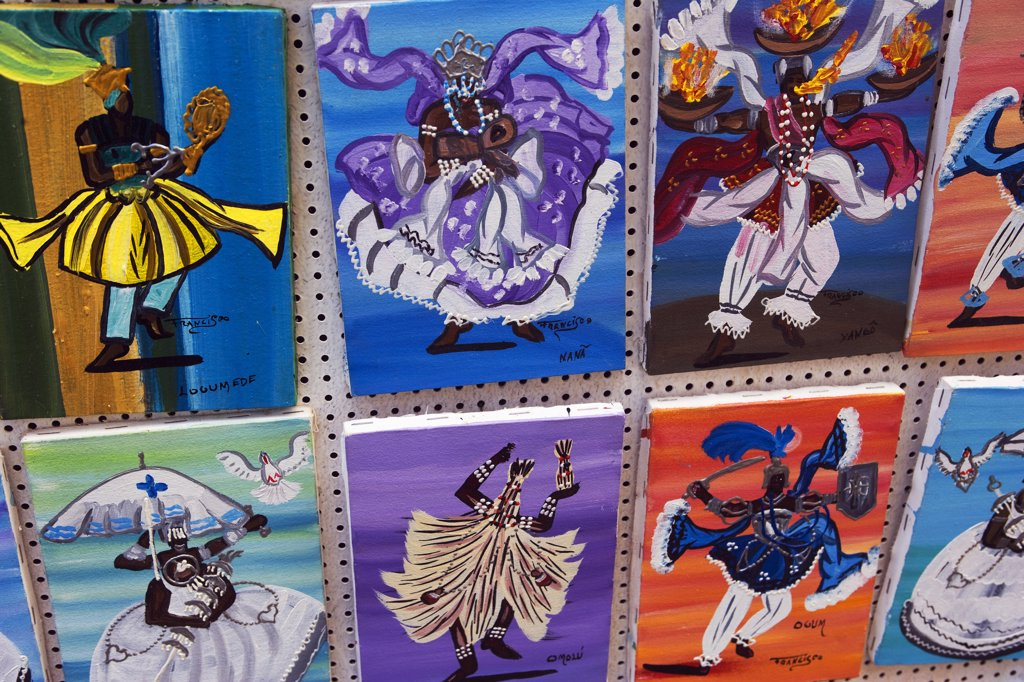 Stock Photo: 4272-3169 Brazil, Bahia, Salvador. The city of Salvador within the historic Old City, a UNESCO World Heritage listed location. Local art reflects the strong African influence with vibrant colours and traditional cultural scenes.