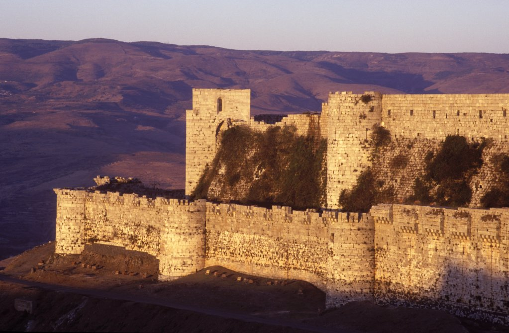 Stock Photo: 4272-31704 Sunset on the battlements of the Crusader castle of Krak de Chevalier C13th from the west