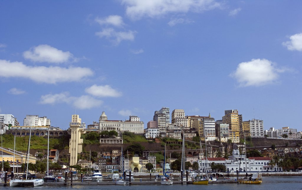 Stock Photo: 4272-3191 Brazil, Bahia, Salvador. Within the historic Old City, a UNESCO World Heritage site, a view from the sea of both the modern and the historic city with the marina in the foreground.