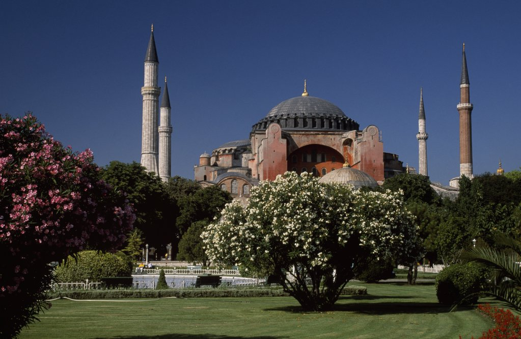 Stock Photo: 4272-32543 Aya Sofya, or Haghia Sophia, Sultanahmet district of Istanbul Commissioned by Emperor Justinian, the 6th century church of Aya Sofya - now a museum - remains the greatest Byzantine building ever constructed.