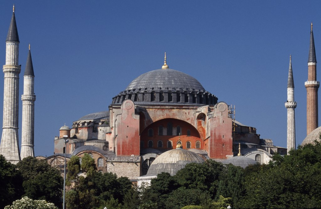 Stock Photo: 4272-32544 Aya Sofya, or Haghia Sophia, Sultanahmet district of Istanbul Commissioned by Emperor Justinian, the 6th century church of Aya Sofya - now a museum - remains the greatest Byzantine building ever constructed.