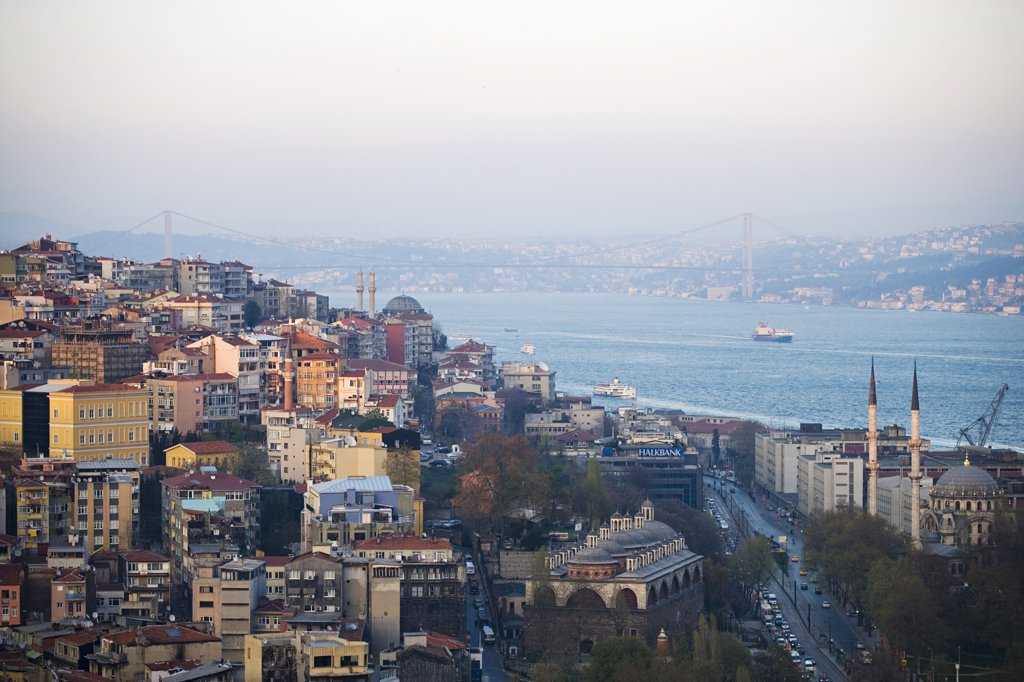 Stock Photo: 4272-32571 View across fashionable Beyoglu and the Bosphorus to Ataturk Bridge, Istanbul