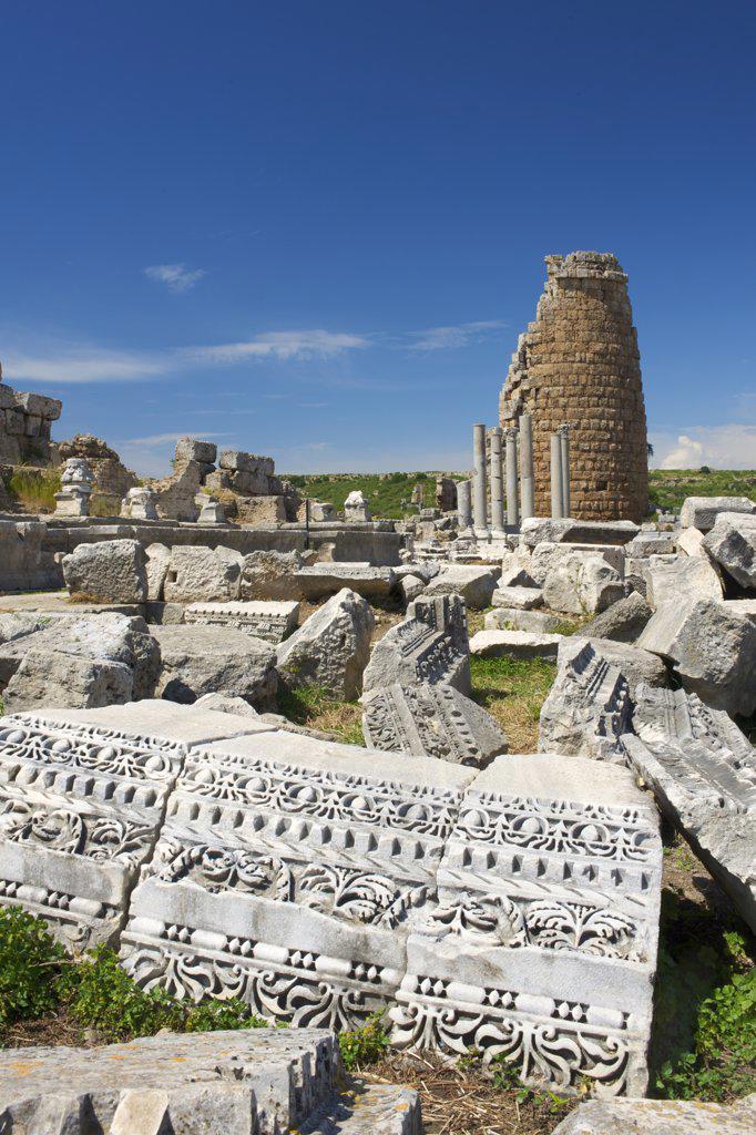 Archaeological site of Perge, Turquoise Coast, Turkey : Stock Photo