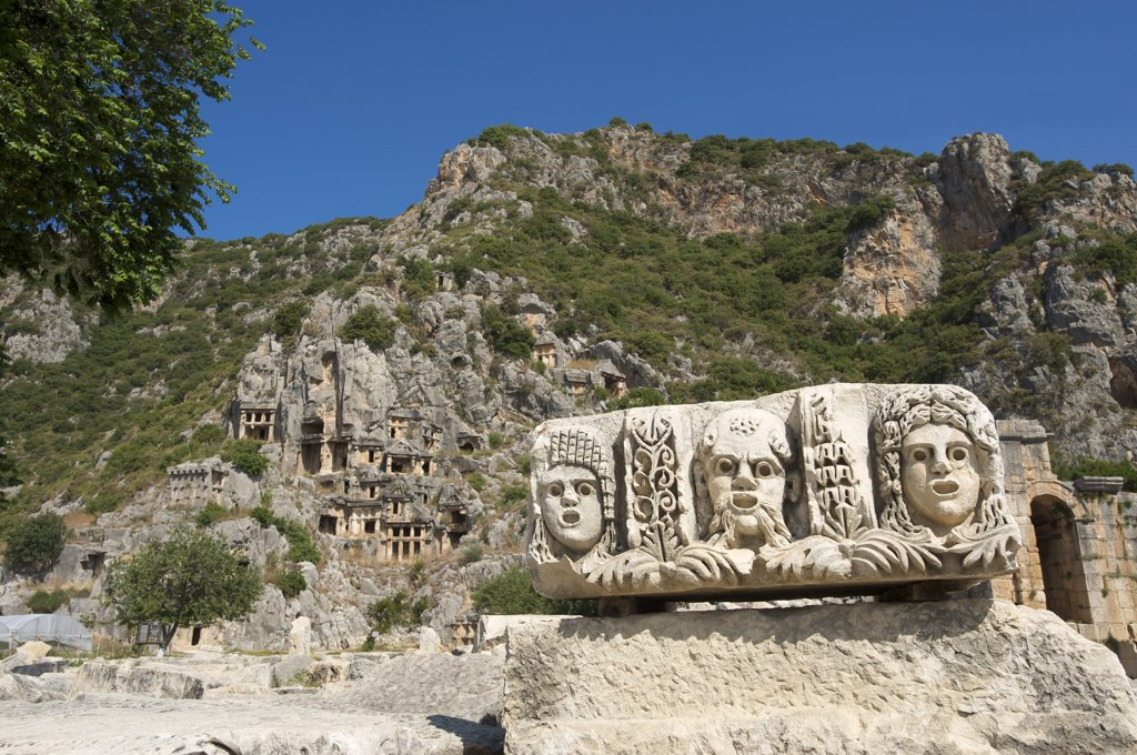 Stock Photo: 4272-32725 Masks and Rock Tombs in Myra, Lycia, Turquoise Coast, Turkey