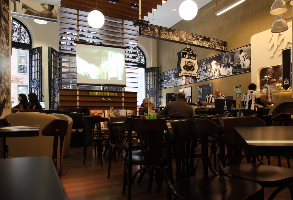 Stock Photo: 4272-3300 'Pele Arena - cafe & futebol' is a cafe in donwtown Sao Paulo. Brazil