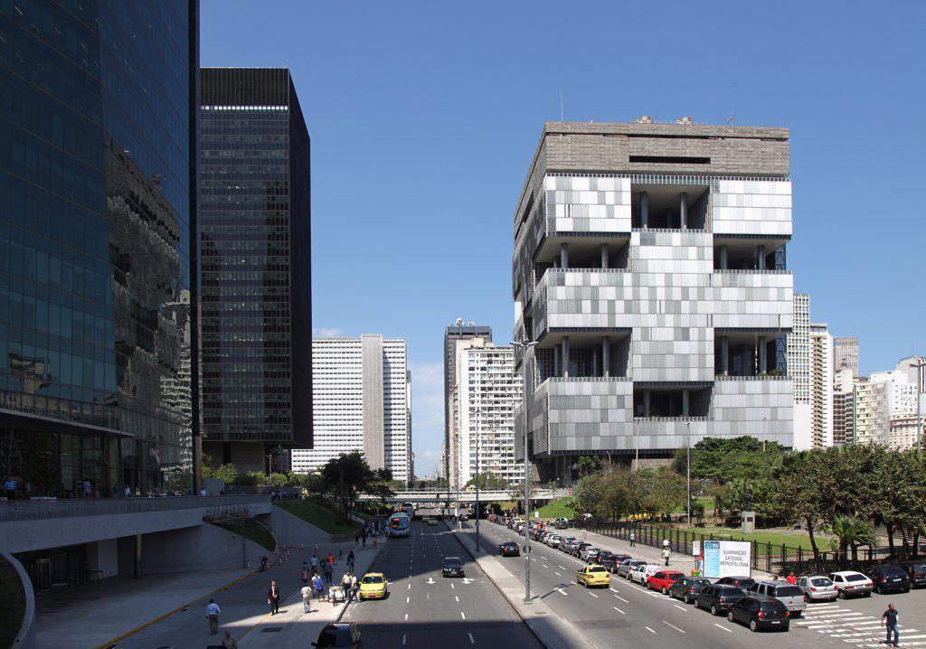 Stock Photo: 4272-3350 Centro, the central district of Rio de Janeiro, Brazil. On the right the headquarter of Petrobras, a Brazilian multinational energy company.