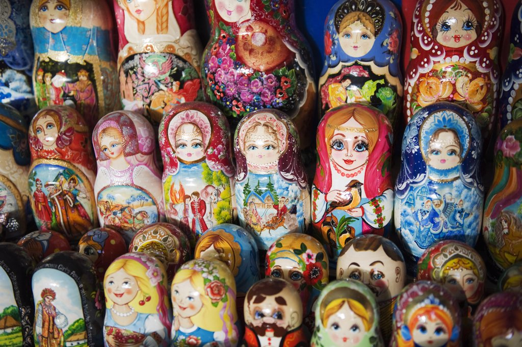Ukraine, Kiev, Russian doll souvenirs for sale on Andrews Decent : Stock Photo