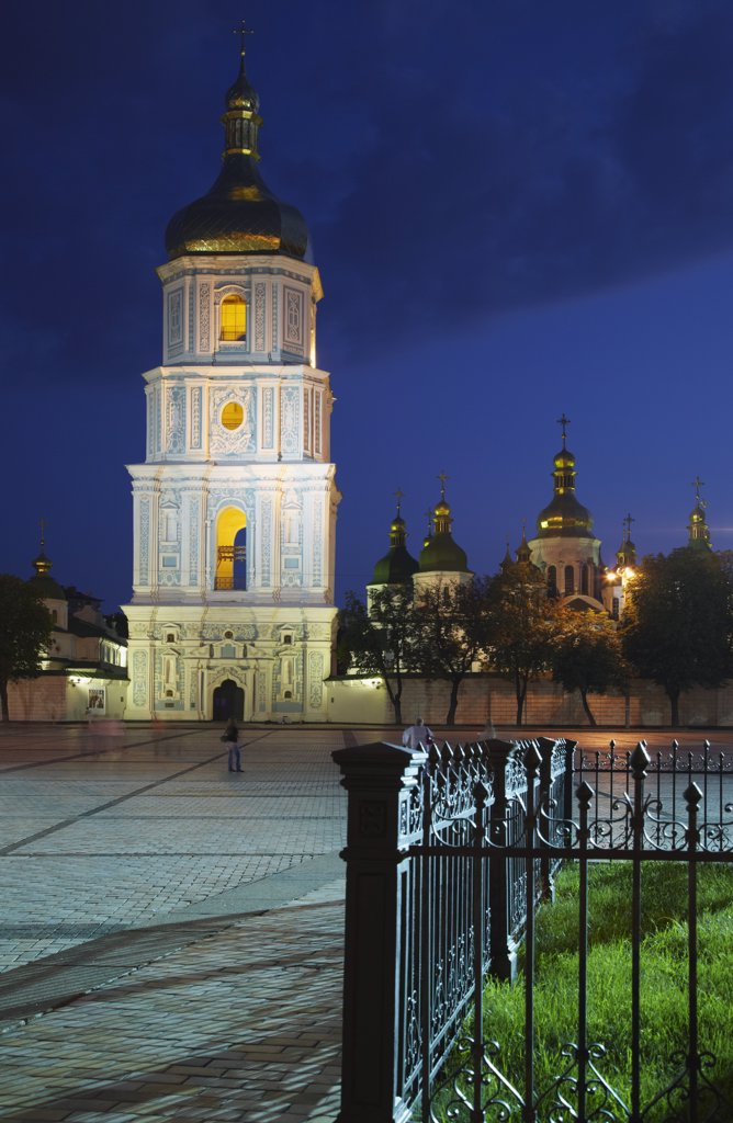 St Sophia's Cathedral at dusk, Kiev, Ukraine : Stock Photo