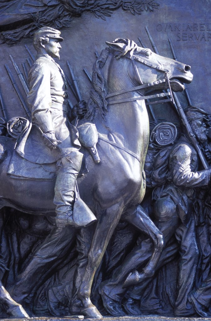 Stock Photo: 4272-33992 Robert Gould Shaw Memorial, commemorates the 54th Massachusetts Regiment.