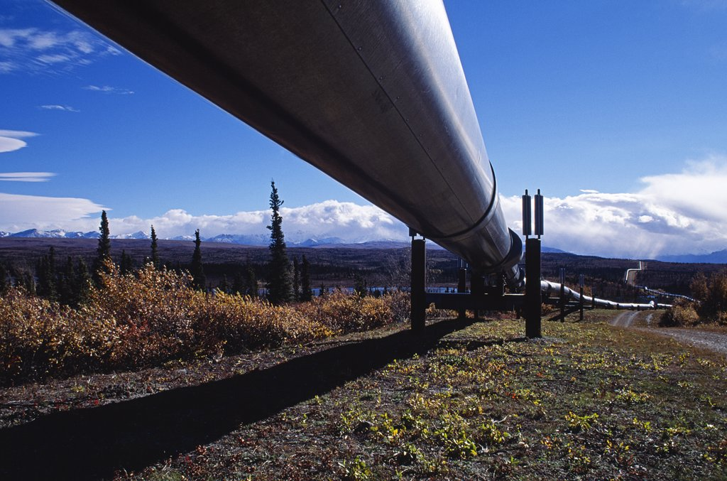 Stock Photo: 4272-34228 Trans-Alaskan pipeline crossing the uninhabited interior of