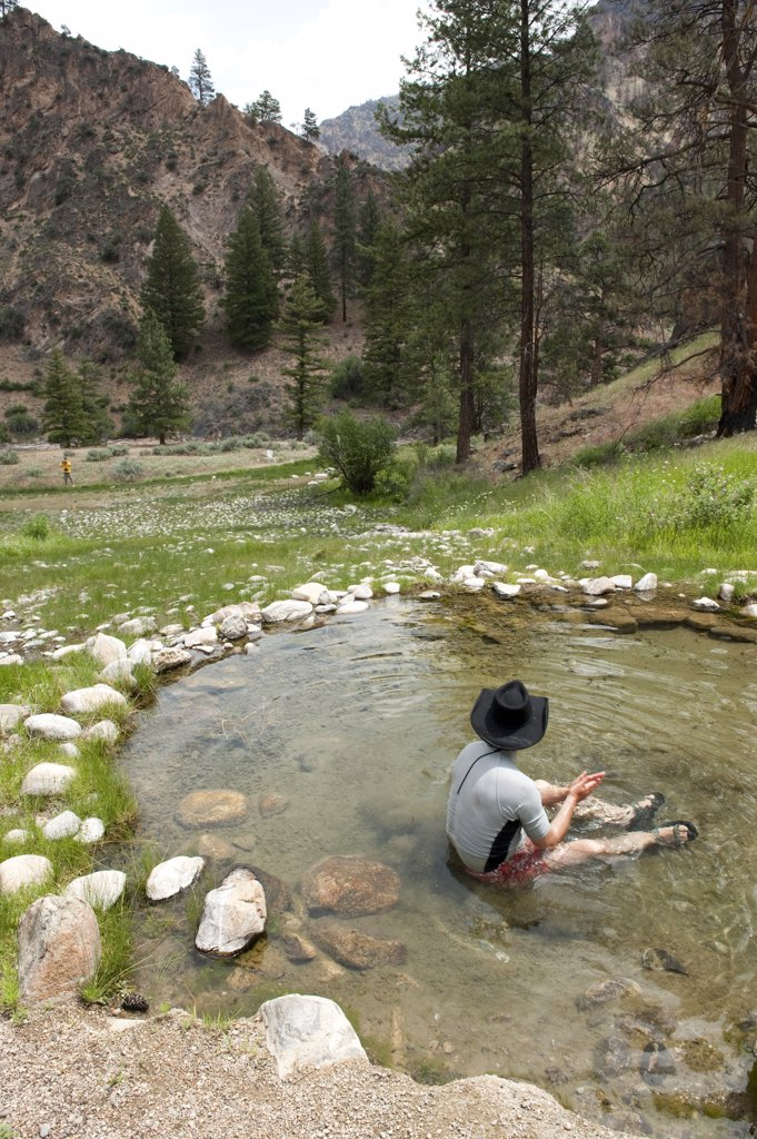 Hotsprings near the Grave of Whitie Cox, Middle Fork of the Salmon River, Frank Church Wilderness, State of Idaho, U.S.A. : Stock Photo