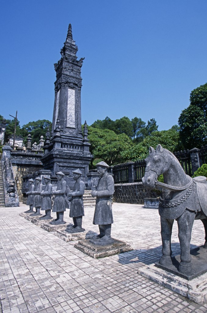 Stock Photo: 4272-34958 Vietnam, Thua Thien-Hue Province, Hue. The Honour Courtyard at the Tomb of Emperor Khai Dinh.