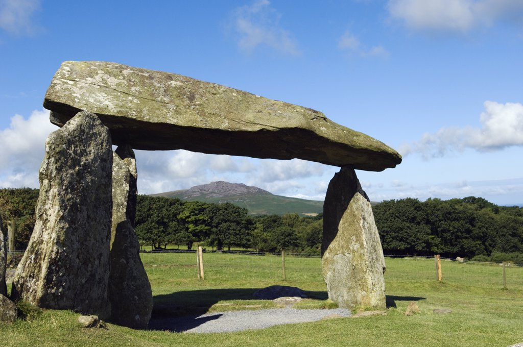 UK, Wales, Pembrokeshire. The site of the ancient neolithic dolmen at Pentre Ifan, Wales's most famous megalith, the remains of a vast Celtic burial mound. : Stock Photo