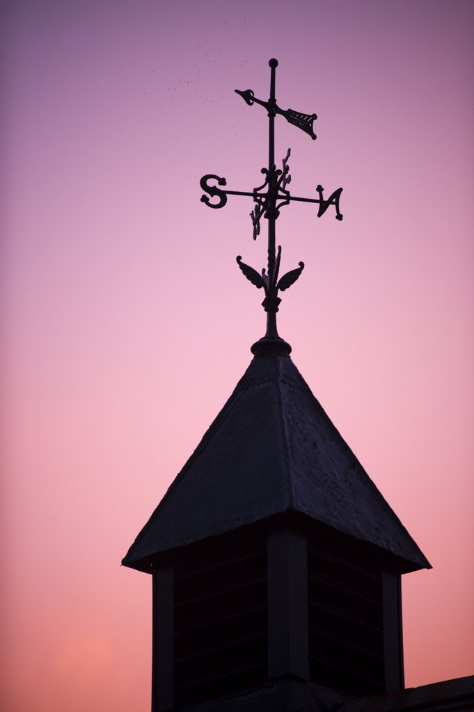 Stock Photo: 4272-35305 UK, Wales. Weathervane on a stable building