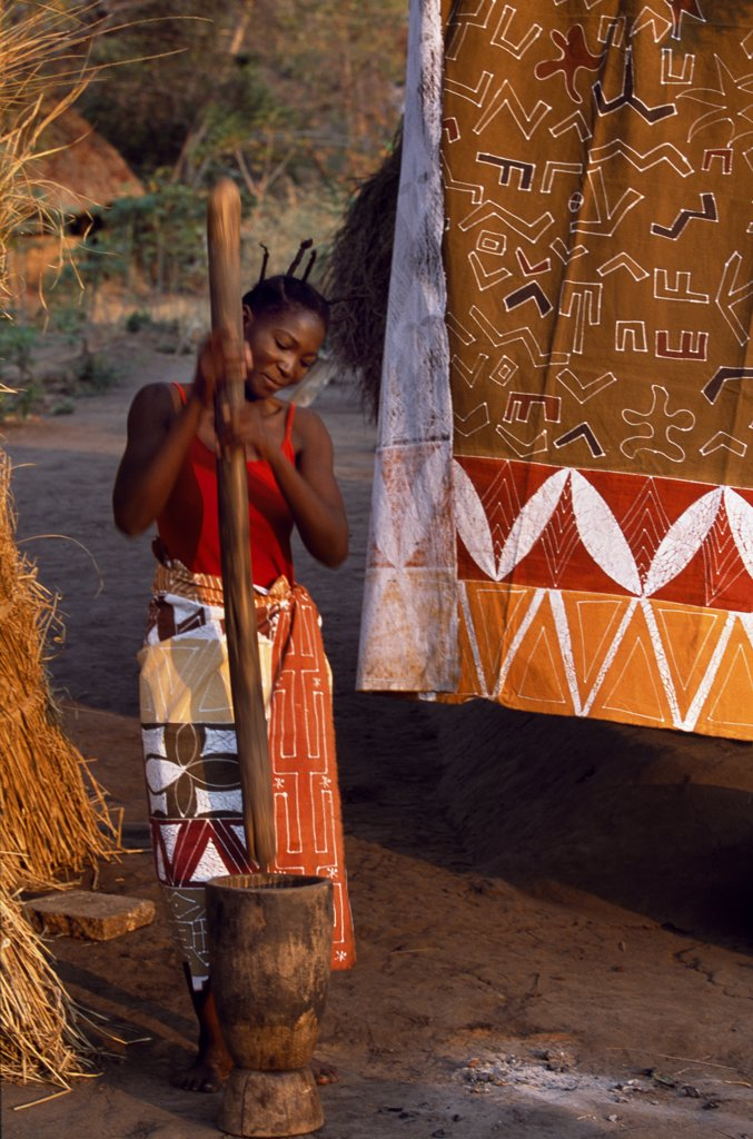 Stock Photo: 4272-36025 Range of fabrics designed and manufactured in the Luangwa Valley by Tribal Textiles displayed at local village.