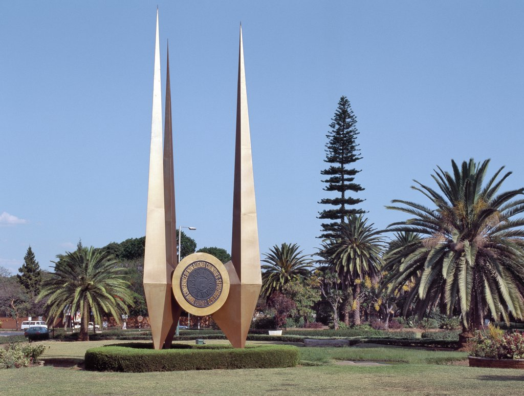 Stock Photo: 4272-36077 An impressive monument erected on a large round about in Lusaka, Zambia's capital, to commemorate its hosting of the third conference of non-aligned nations in 1970.