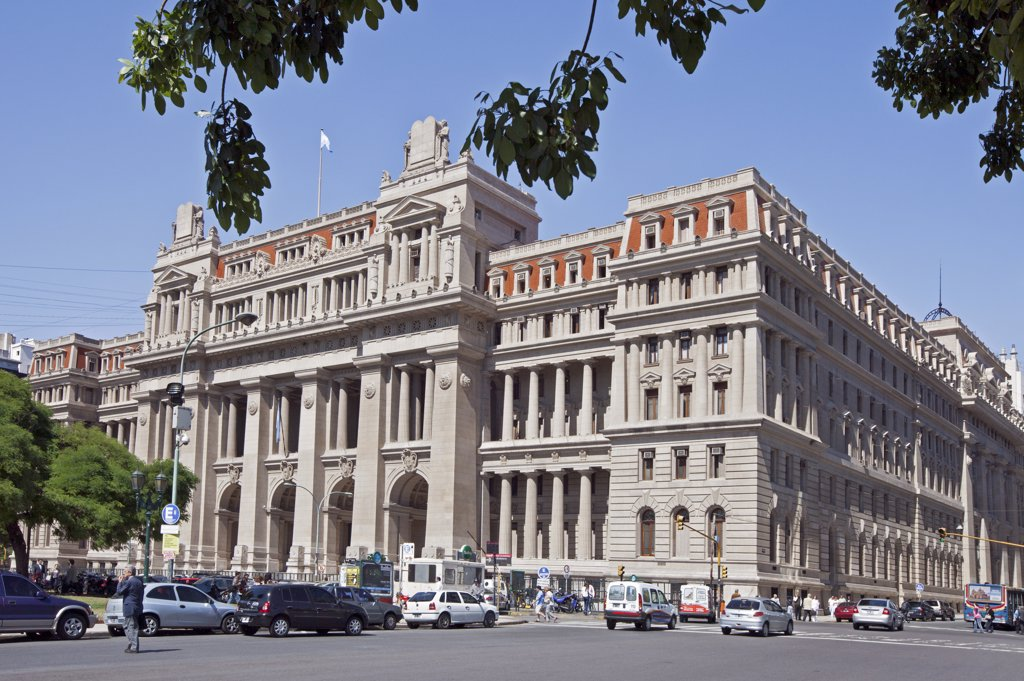 The Supreme Court, Palacio de Tribunales, beside Plaza Lavalle. The cornerstone of this Greco-Roman architectural style building was laid in 1904. : Stock Photo