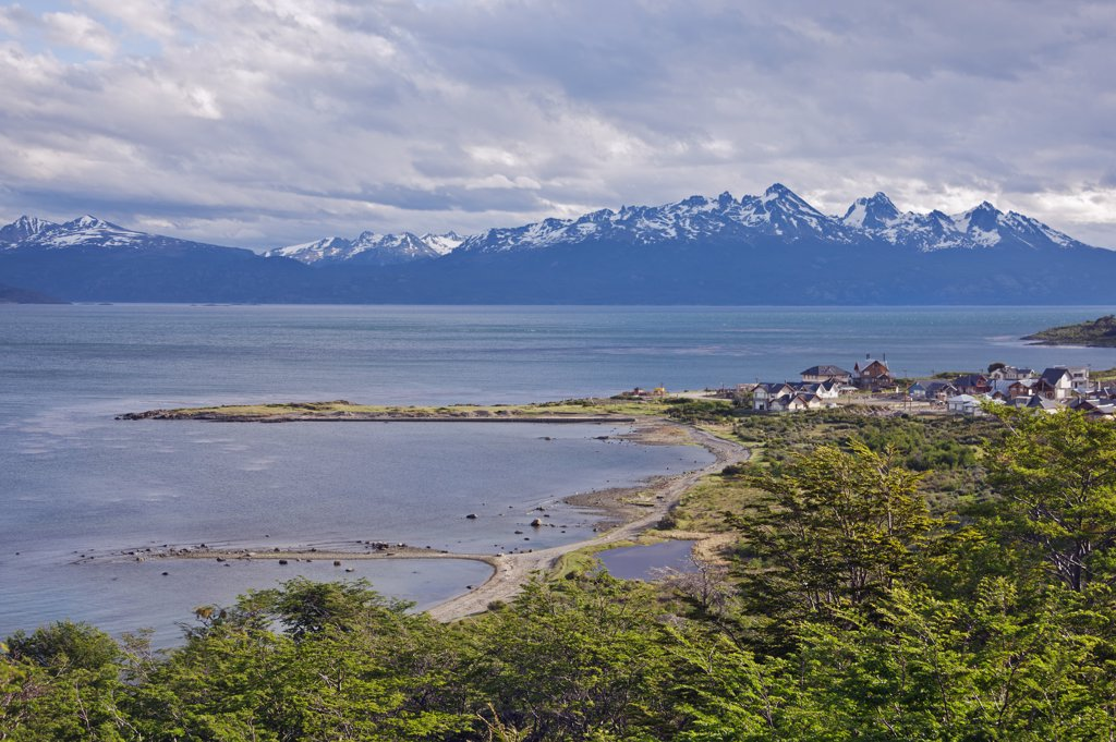 A view from the outskirts of Ushuaia, the southernmost city in the world. : Stock Photo
