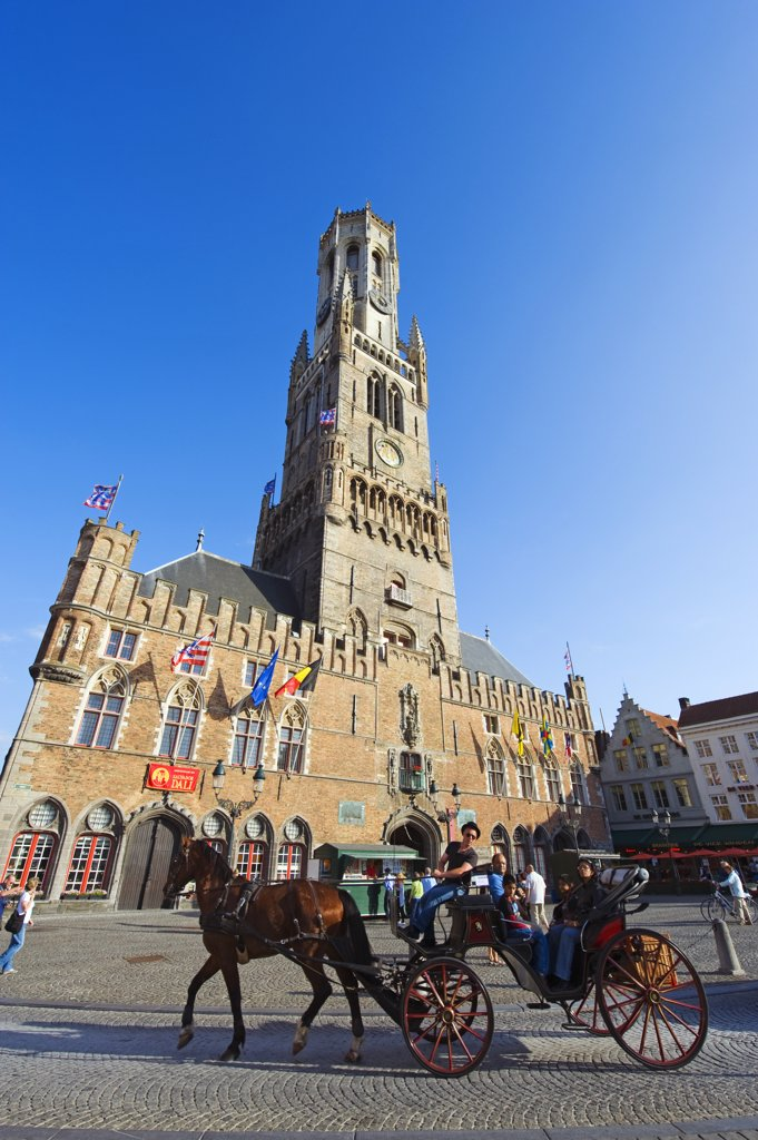 Stock Photo: 4272-36439 Europe, Belgium, Flanders, Bruges, 13th century Belfort, belfry tower in market square, old town, Unesco World Heritage Site