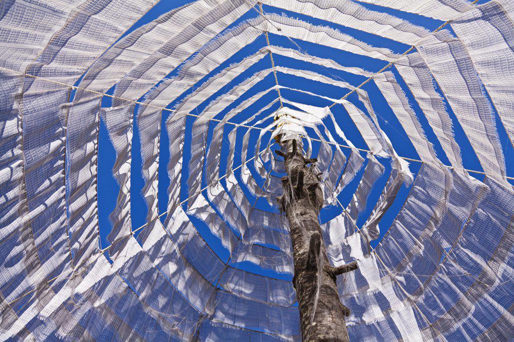 Prayer flags arranged around a pole in parachute style in Gangtey village. : Stock Photo