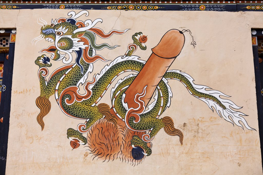 Stock Photo: 4272-36635 Phallus decoration on the wall of a house in Thimphu.