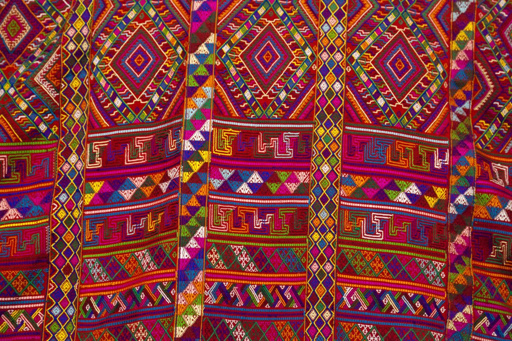 Stock Photo: 4272-36641 A stunning piece of woven material, to be used for a lady's traditional kira, the national dress for Bhutanese women.