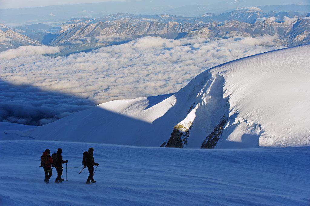 Europe, France, The Alps, climbers on Mont Blanc, Chamonix, : Stock Photo