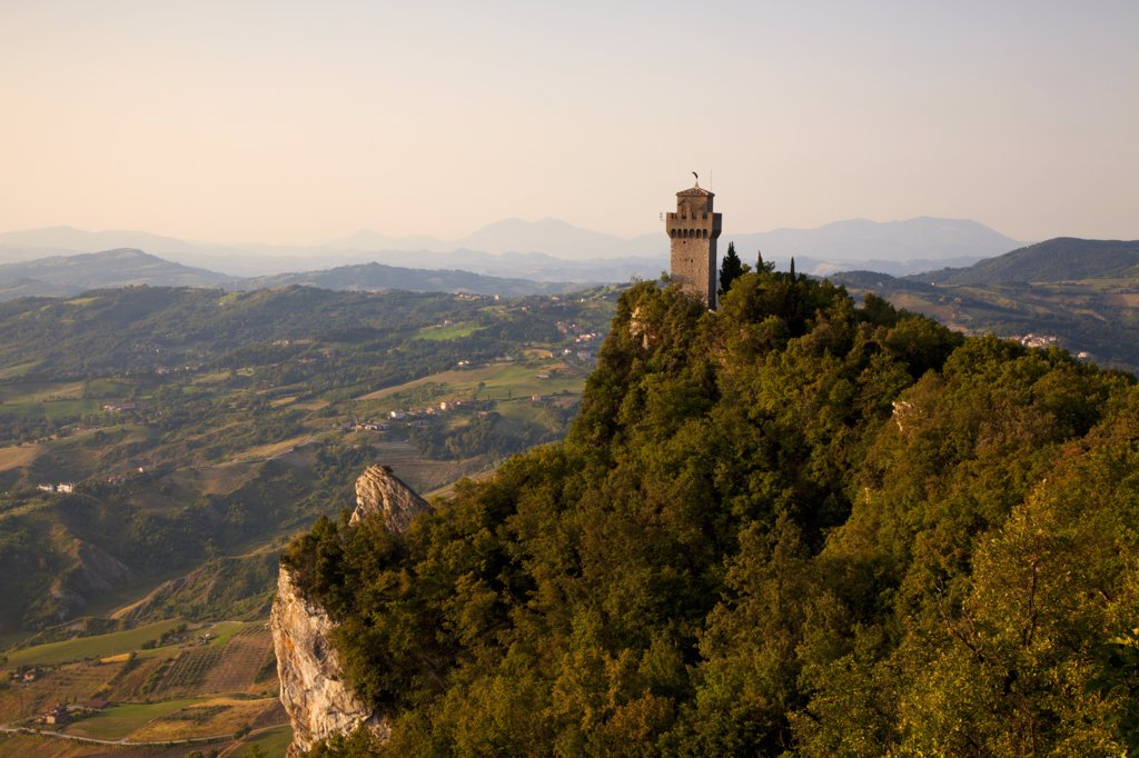 Stock Photo: 4272-37305 Europe, San Marino. Torre Montale, the smallest of the three towers on Monte Titano. UNESCO