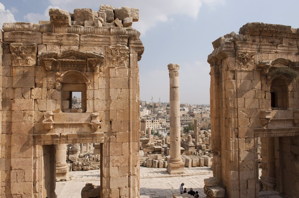 Stock Photo: 4272-37343 Jerash, located 48 kilometers north of Amman is considered one of the largest and most well-preserved sites of Roman architecture in the world, Jordan