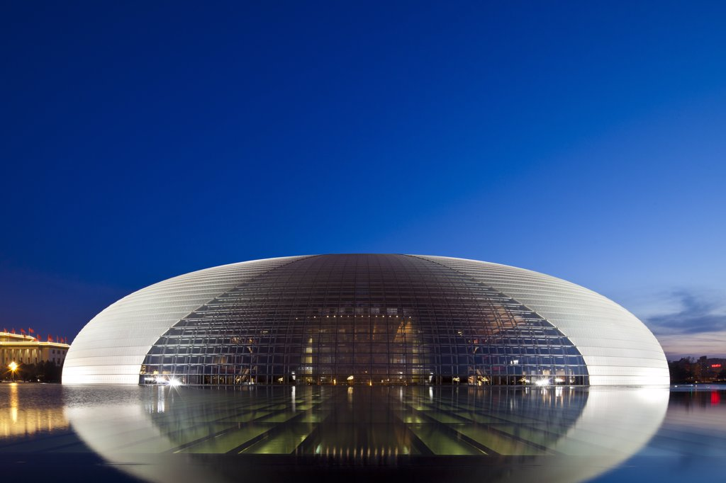 China, Beijing, The National Centre For The Performing Arts, also knon as The Egg. : Stock Photo