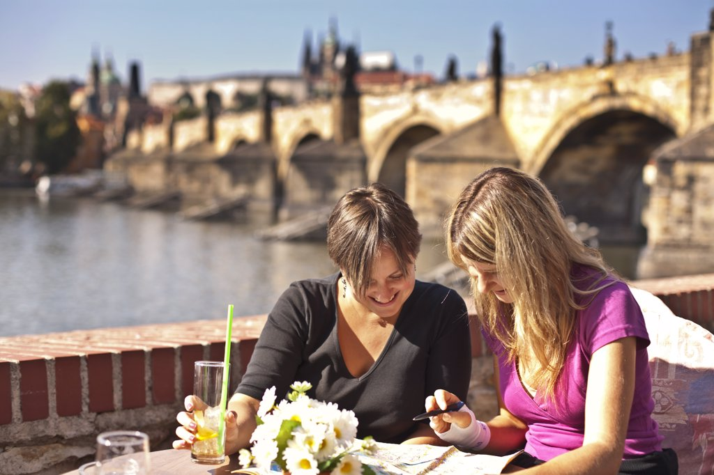 Stock Photo: 4272-38524 Europe, Czech Republic, Central Bohemia Region, Prague. Riverside Cafe. MR