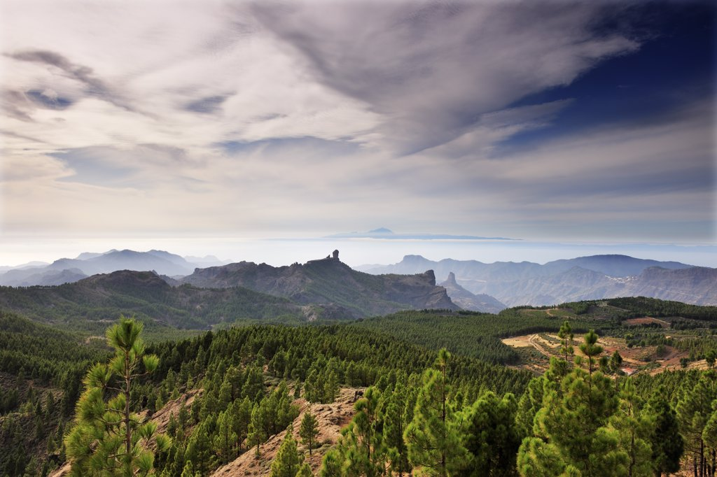 Stock Photo: 4272-39319 Tenerife island and Roque Nublo seen from Pozo de las Nieves. Gran Canaria, Canary islands