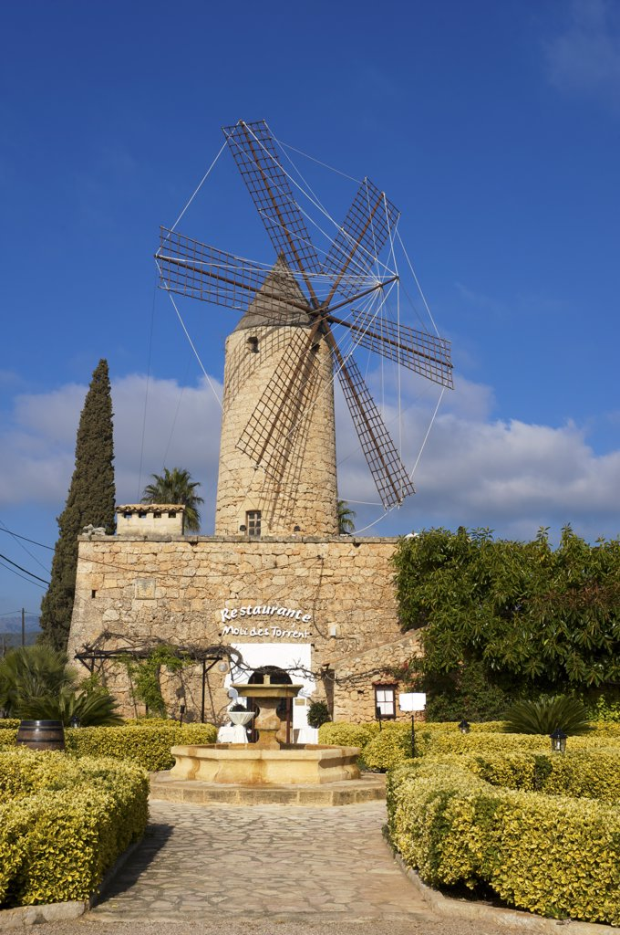 Windmill nearby Santa Maria del Cami, Cala S´Amonia, Majorca, Balearics, Spain : Stock Photo