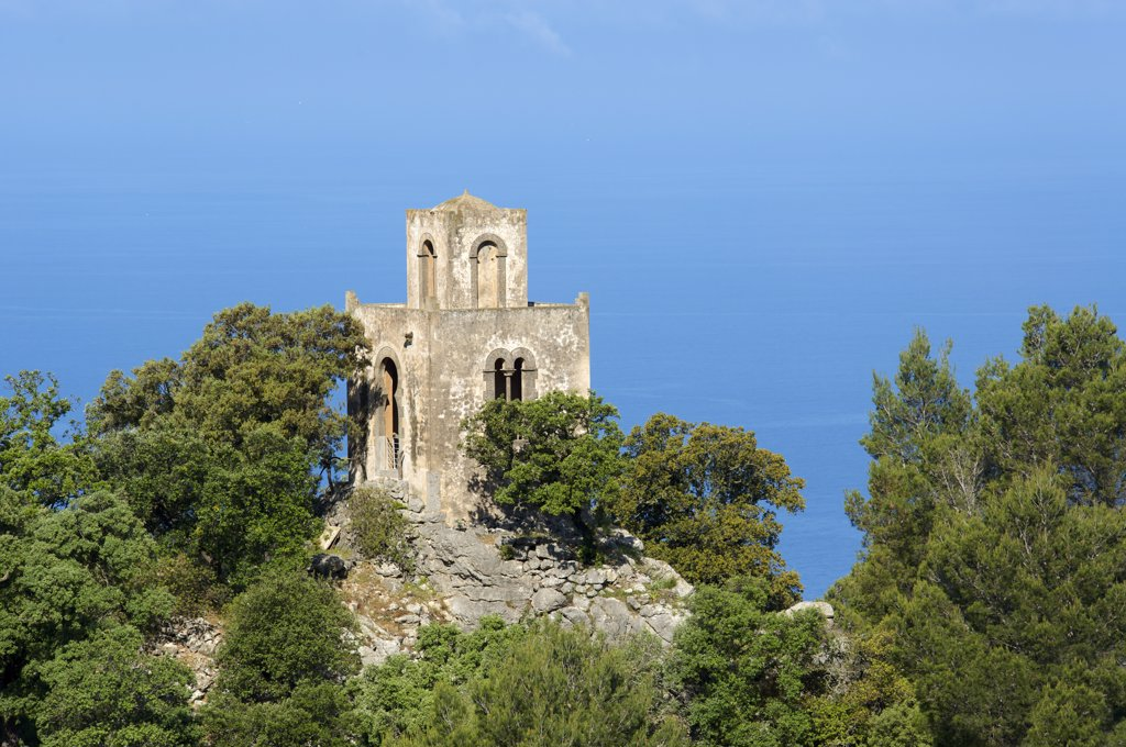 Stock Photo: 4272-39411 Fortified tower near Valldemossa, Tramuntana, Majorca, Balearic Islands, Spain