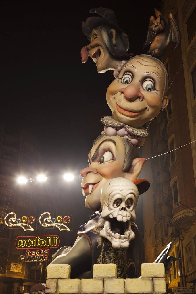 Stock Photo: 4272-39428 Spain, Valencia Region, Valencia. Ninot sculpture at the Las Fallas festival.