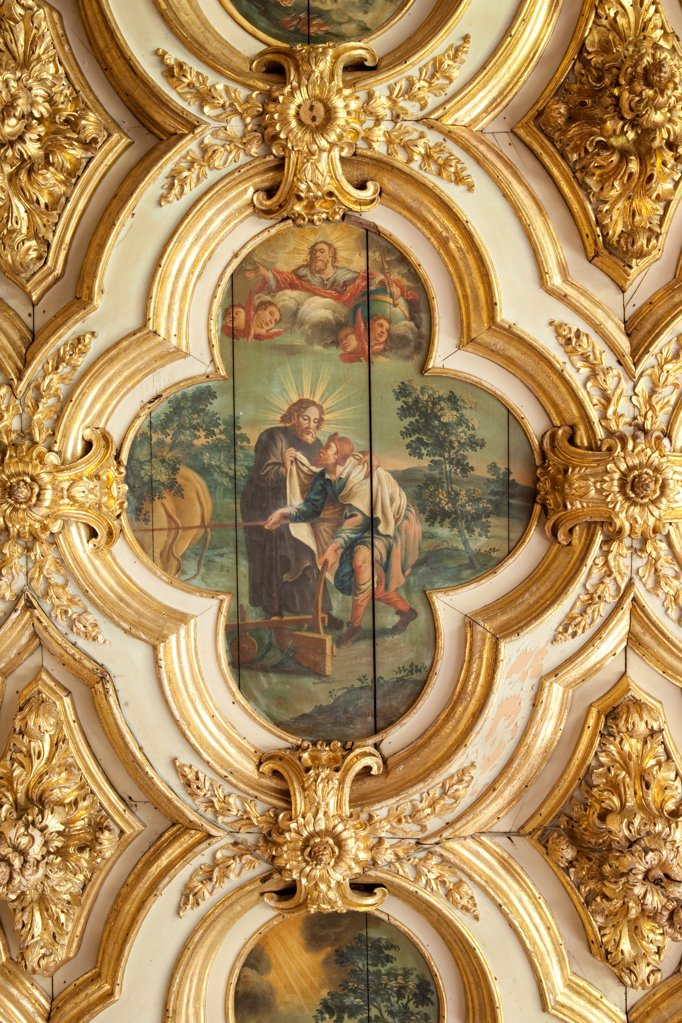 Stock Photo: 4272-39691 Brazil, Bahia, Salvador, a ceiling painting of St. Francis in the chapel of the Convento do Carmo hotel in Salvador