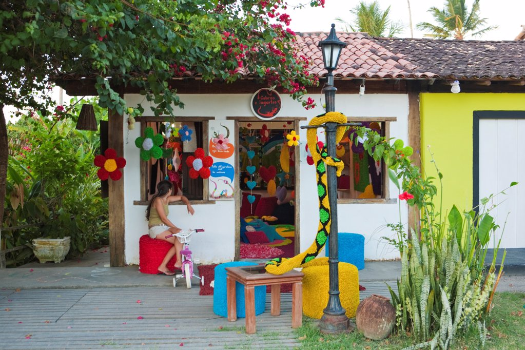 Stock Photo: 4272-39695 South America, Brazil, Bahia, Discovery Coast, Trancoso, Quadrado, Praca Sao Joao, Cobras e Lagartos boutique on the Quadrado