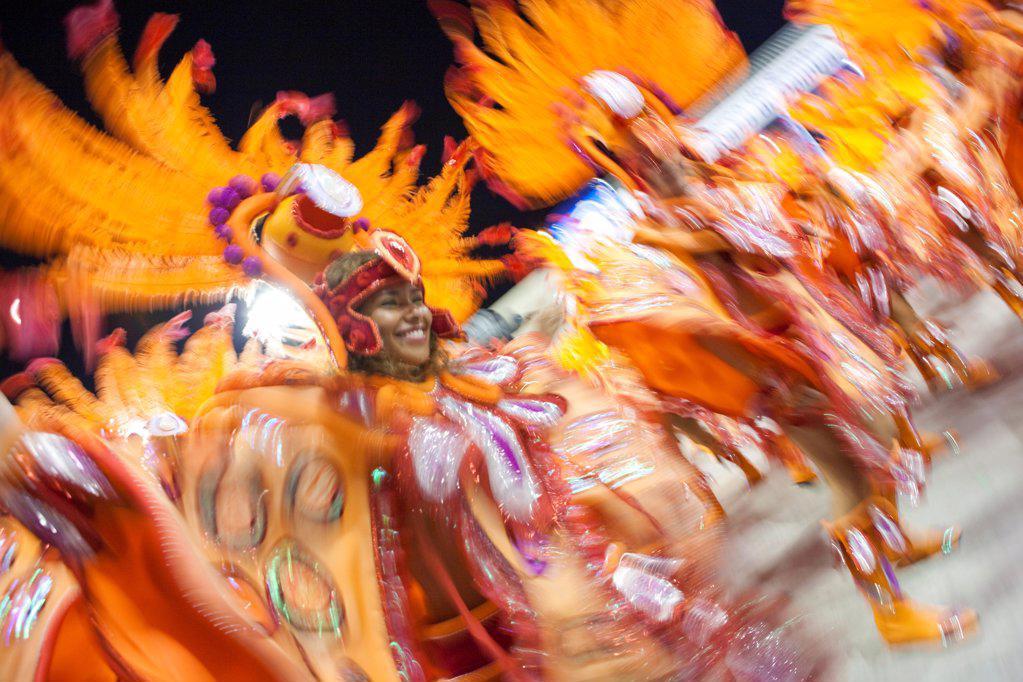 South America, Rio de Janeiro, Rio de Janeiro city, costumed dancers at carnival in the Sambadrome Marques de Sapucai : Stock Photo