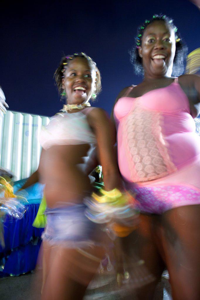 Stock Photo: 4272-39839 South America, Rio de Janeiro, Rio de Janeiro city, costumed dancers at carnival in the Sambadrome Marquis de Sapucai