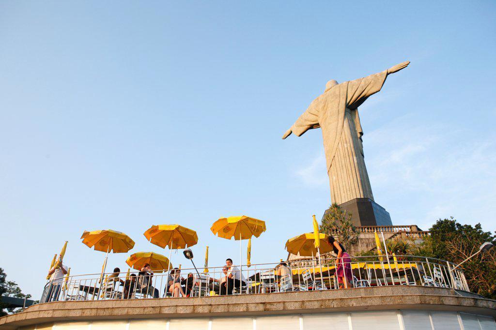 Stock Photo: 4272-39918 South America, Brazil, Rio de Janeiro State, Rio de Janeiro city, Corcovado, The cafe behind the art deco Christ statue, Cristo Redentor, on Corcovado
