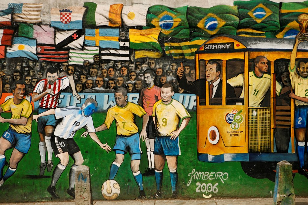 South America, Brazil, Rio de Janeiro, graffiti of a World cup mural in Santa Teresa : Stock Photo