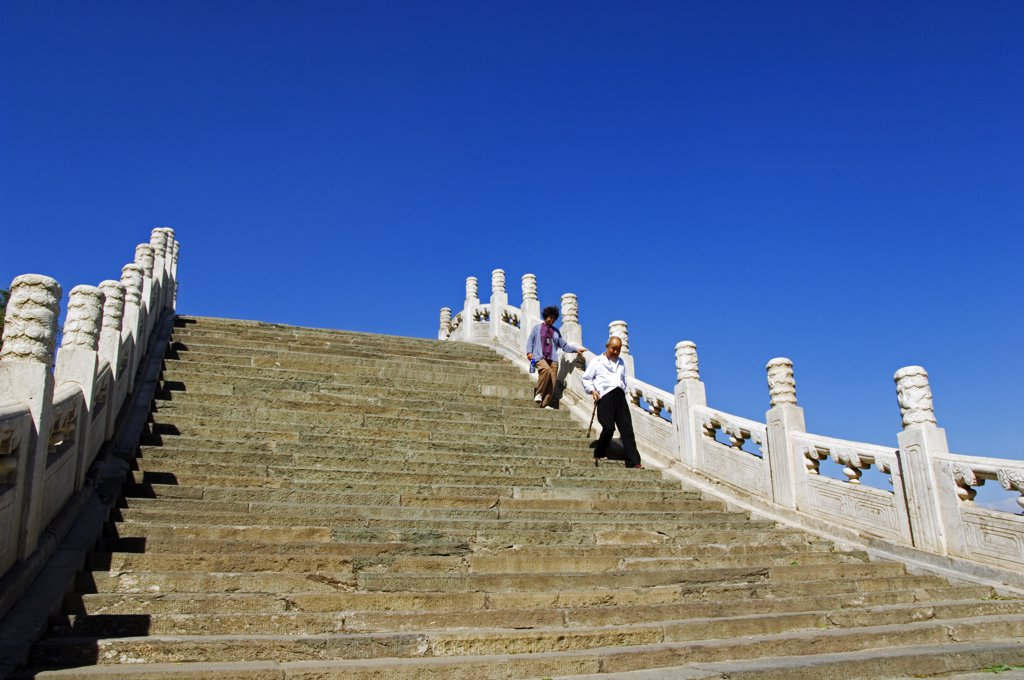 Stock Photo: 4272-4030 A steeply arched bridge on Lake Kunming, The Summer Palace, Yihe Yuan, Beijing, China