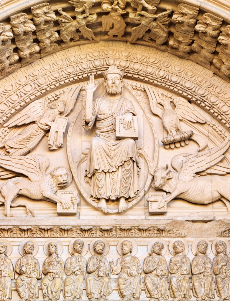 Stock Photo: 4272-40482 France, Provence, Arles, SaintTrophime cathedral, detail at entrance.