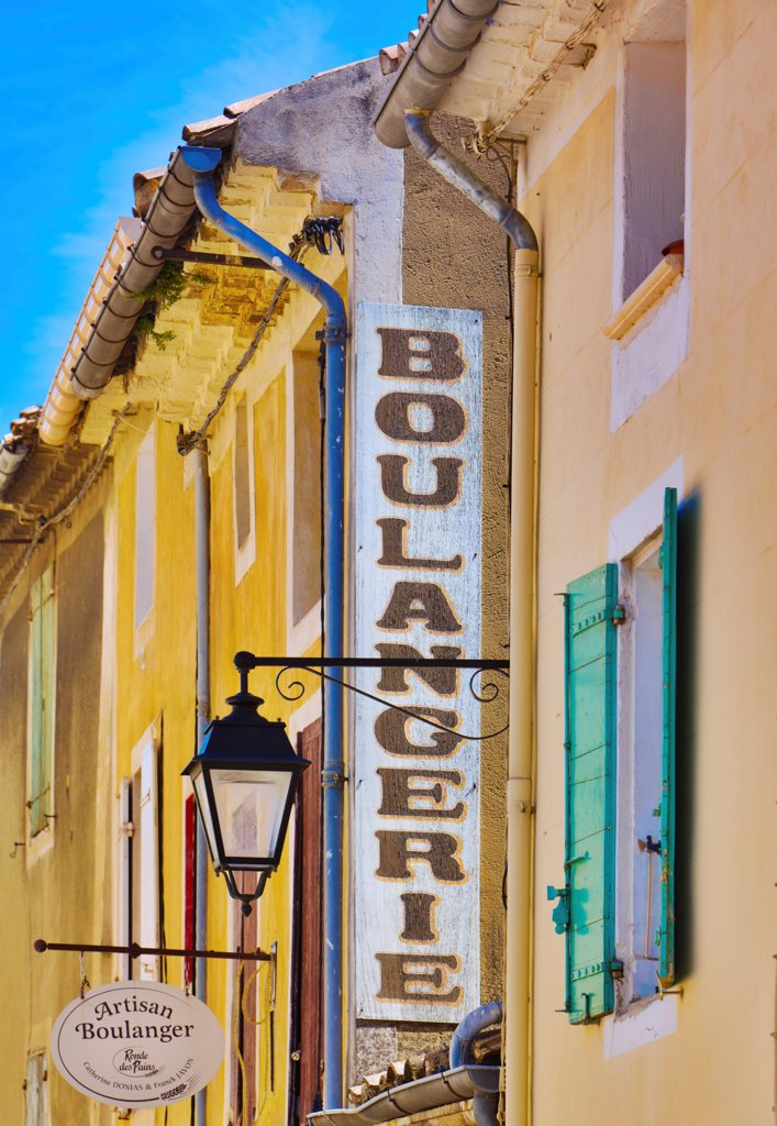 France, Provence, Orange, Boulangerie sign : Stock Photo