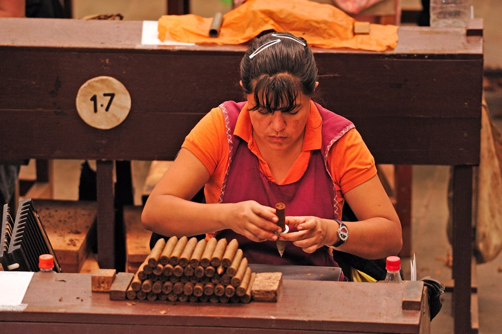 Workers in a Cigar factory, Nicaragua, Central America : Stock Photo