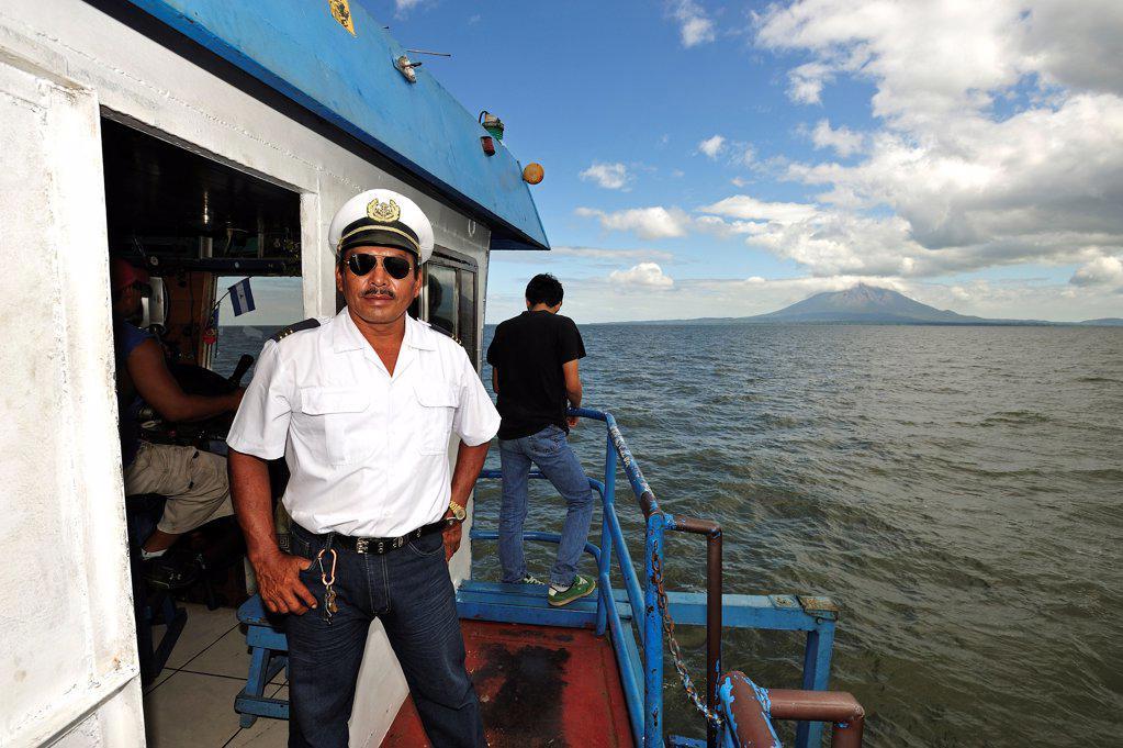 Captain on his boat, Lago de Nicaragua, Nicaragua : Stock Photo