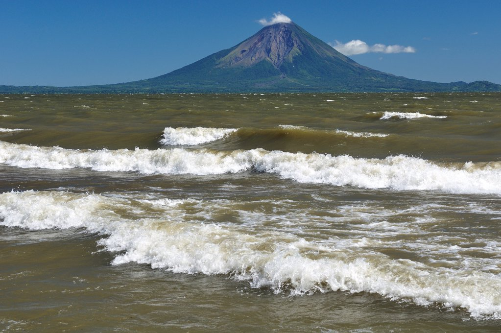 Stock Photo: 4272-40937 View to Volcan Conception and Ometepe Island across Lago Nicaragua,  Nicaragua, Central America