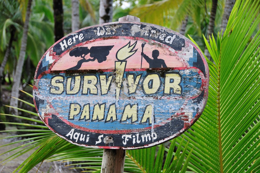 Sign for Survivor Panama at El Limbo Hotel, Bastimentos Island, Panama, Central America : Stock Photo