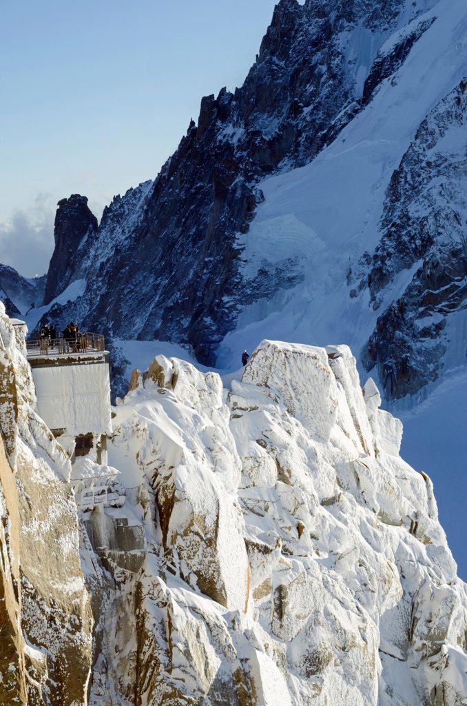 Europe, France, French Alps, Haute Savoie, Chamonix, tourists at Aiguille du Midi : Stock Photo